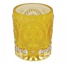 Castiçal De Vidro Amarelo 6,5x7,2cm