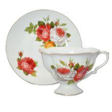 Xícaras Porcelana com Pires Branca E Rosas 2 peças