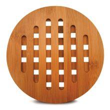 Descanso De Panela E Travessa Redondo Em Bambu 20cm
