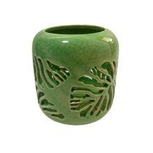 Castiçal De Cerâmica Swiss Leaf Verde