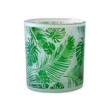 Castiçal De Vidro All Leaves Branco E Verde 7,3x7,3x8cm