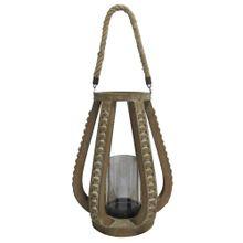 Lanterna Em Corda, Vidro E Madeira Marrom 28,5x28,5x37cm