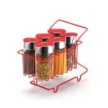 Mini Carrinho Com 6 Porta Condimentos Vermelho