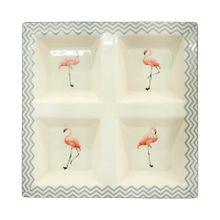 Petisqueira De Cerâmica Flamingos 23x23x3,6cm