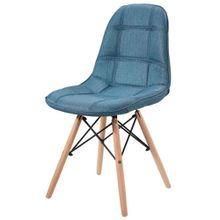 Cadeira Eiffel Em Linho Azul Jeans Base Madeira