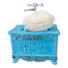 Saboneteira Pia Retro de Cerâmica Azul The Home