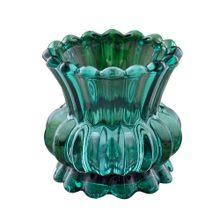 Mini Castiçal Em Vidro Verde 8x8cm