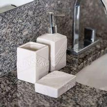 Conjunto Para Banheiro Square Branco 3 Peças