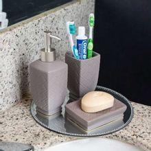 Conjunto Para Banheiro Stratus Cinza 3 Peças