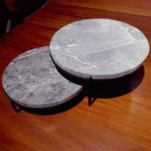 Tabua De Mármore Com Base De Ferro 25,5x25,5x11cm