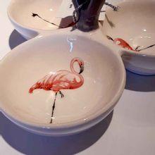 Petisqueira De Cerâmica Flamingos 19,6x19,6x10,2cm