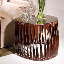 Mesa Lateral String Espelhada Em Aço E Couro 55x70cm Nolan Collection