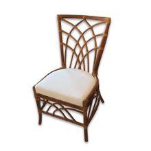 Cadeira Marina Em Rottin e Junco Tecido Sarja Cru Ofício Natural