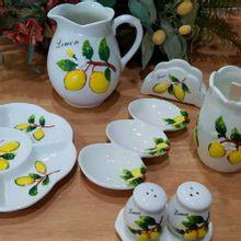 Petisqueira Tripla Em Cerâmica Lemons 25x12x3cm