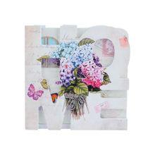 Porta Copos Hortenses Flowers C/ Suporte Em Mdf 7 Peças